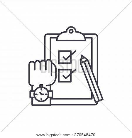 Exams Line Icon Concept. Exams Vector Linear Illustration, Symbol, Sign