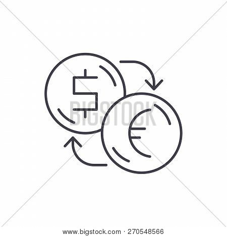 Exchange Of Dollars For Euros Line Icon Concept. Exchange Of Dollars For Euros Vector Linear Illustr