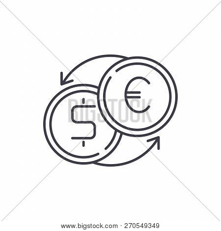 Fast Currency Exchange Line Icon Concept. Fast Currency Exchange Vector Linear Illustration, Symbol,