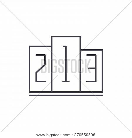 First, Second And Third Place Line Icon Concept. First, Second And Third Place Vector Linear Illustr