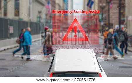 Emergency Braking Assist (eba) Sysyem To Avoid Car Crash Concept. Smart Car Technology,