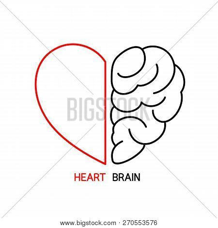 Heart and Brain concept, conflict between emotions and rational thinking, teamwork and balance between soul and intelligence. Outline icon design, vector illustration. poster