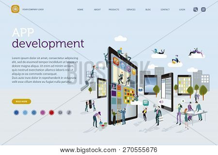 Web Template. A Team Of People Work Creatively Together Building Giant Digital Tablets, Like Skyscra