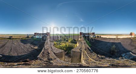Aerial Full Spherical Seamless Panorama 360 Degrees Angle View With Roof Concrete Abandoned Unfinish