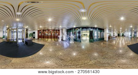 Minsk, Belarus - July, 2016: Full Seamless Panorama 360 Degrees  Angle View In Interior Of Luxury Em