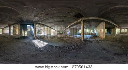 Full Spherical Seamless Panorama 360 Degrees Angle View Concrete Structures Abandoned Unfinished Bui