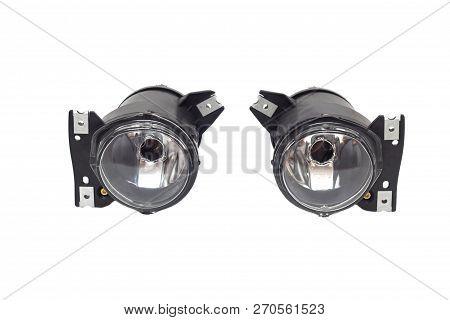 Pair Of Car Fog Lights On A White Background, Isolate, Anti-fog Headlight