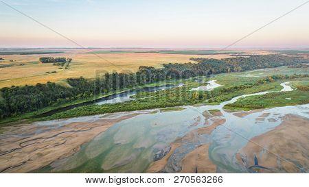 aerial photography view of lower Niobrara River in Nebraska Sandhills
