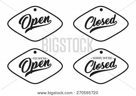 Vintage Letter Open And Closed For Your Shop Door. Open Icon, Open Icon Vector, Closed Icon, Closed
