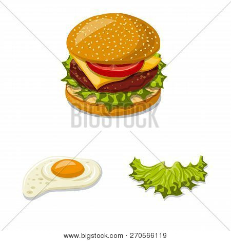 Vector Illustration Of Burger And Sandwich Logo. Collection Of Burger And Slice Vector Icon For Stoc