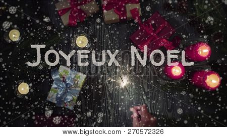 Greeting Card Joyeux Noel, Merry Christmas In French Language