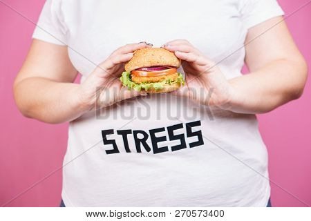 Stress, Eating Problems, Bulimia, Compulsive Overeating, Weight Gain. Overweight Woman With Fresh Ap