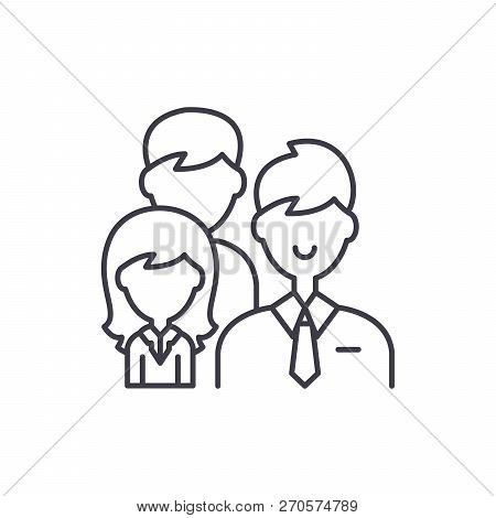 Group Leadership Line Icon Concept. Group Leadership Vector Linear Illustration, Symbol, Sign