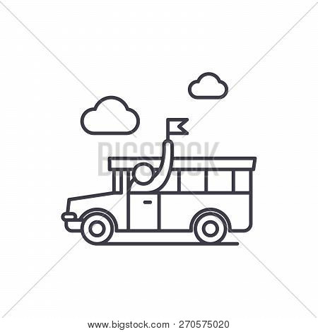 Guided Tour Line Icon Concept. Guided Tour Vector Linear Illustration, Symbol, Sign