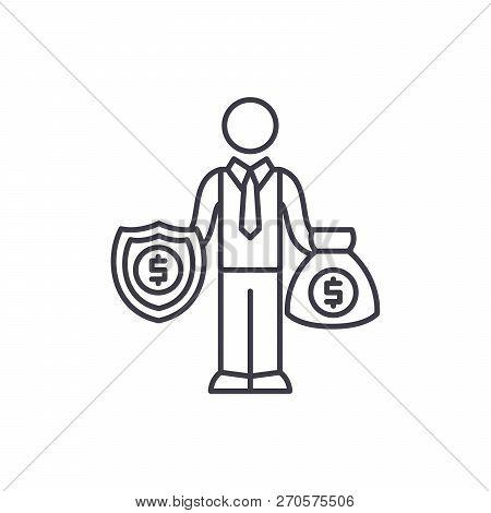 Happy Rich Businessman Line Icon Concept. Happy Rich Businessman Vector Linear Illustration, Symbol,