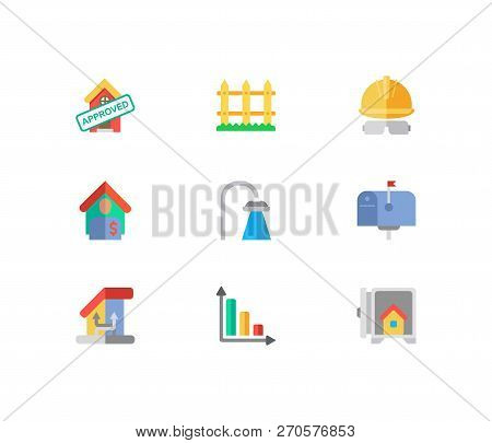 Real Estate Icons Set. Fence And Real Estate Icons With Tenant, Progress Down And Mail Box. Set Of S