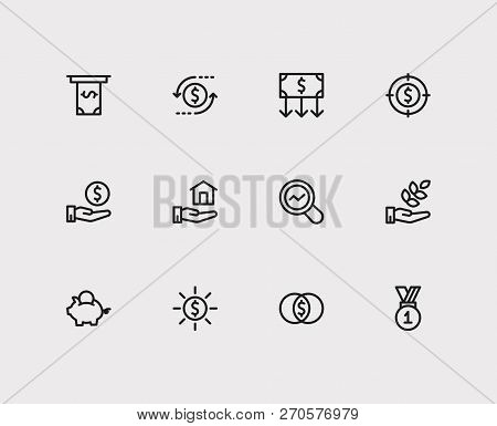 Economy Icons Set. Agriculture Investment And Economy Icons With Investment Target, Savings And Cash