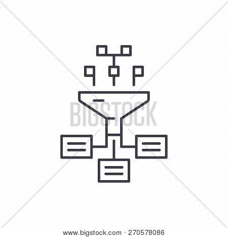 Information Processes Line Icon Concept. Information Processes Vector Linear Illustration, Symbol, S