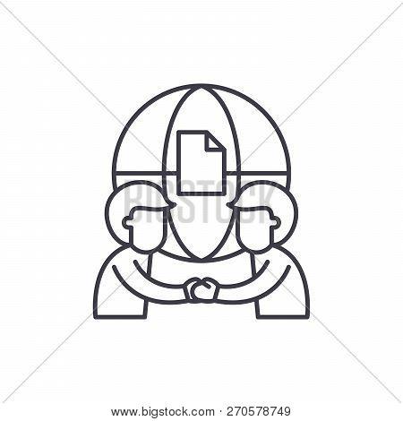 International Partnership Line Icon Concept. International Partnership Vector Linear Illustration, S