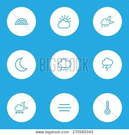 Weather Icons Line Style Set With Blizzard, Rainfall, Drizzle And Other Rain Elements. Isolated Vect
