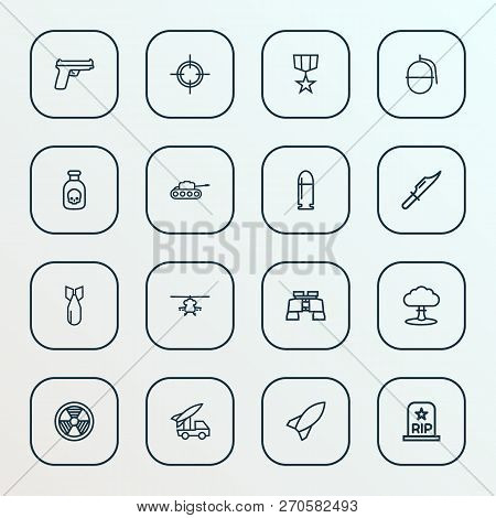 Army Icons Line Style Set With Poison, Bomb, Bio Hazard And Other Radiation  Elements. Isolated Vect