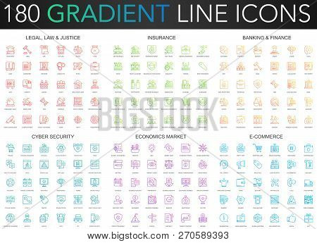 180 Trendy Gradient Vector Thin Line Icons Set Of Legal, Laws And Justice, Insurance, Banking Financ