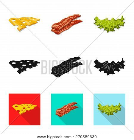 Isolated Object Of Burger And Sandwich Symbol. Collection Of Burger And Slice Vector Icon For Stock.