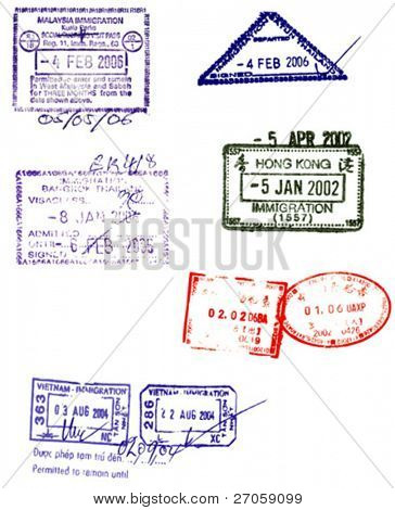 hong kong,china,malaysia, thailand and vietnam visa stamps vectors