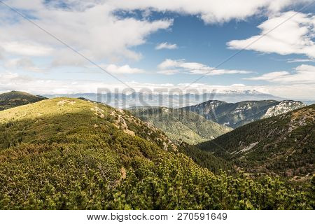 Amazing Scenery Of Nizke Tatry Mountains With Vysoke Tatry Mountains On The Background From Hiking T
