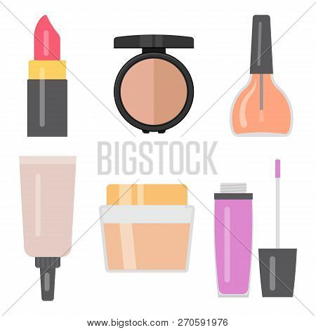 Set Of Makeup Items. Nail Varnish, Cream For The Skin, Lipstick, Lip Gloss, Eye Shadows, Cosmetic Tu
