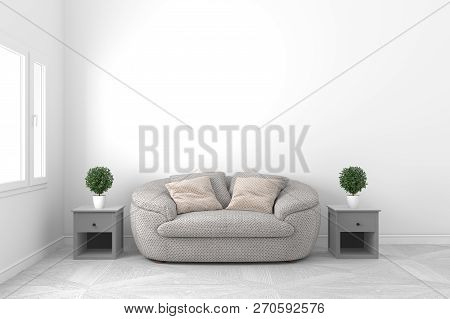 Beautiful White Empty Room-living Room Interior Design - With Sofa And Plants And Windows On Empty W