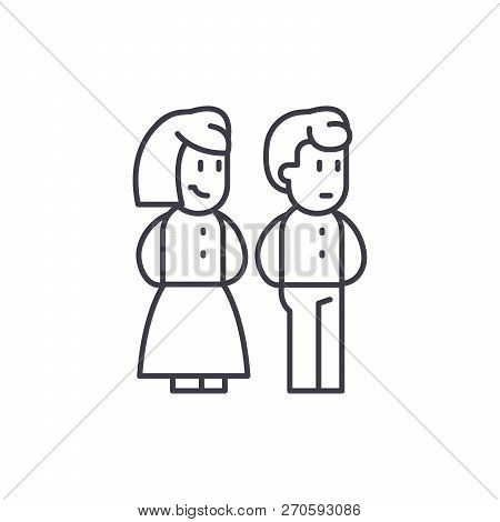 Married Couple Line Icon Concept. Married Couple Vector Linear Illustration, Symbol, Sign
