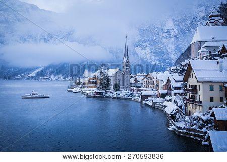 Classic Postcard View Of Famous Hallstatt Lakeside Town With Traditional Passenger Ship On Hallstatt
