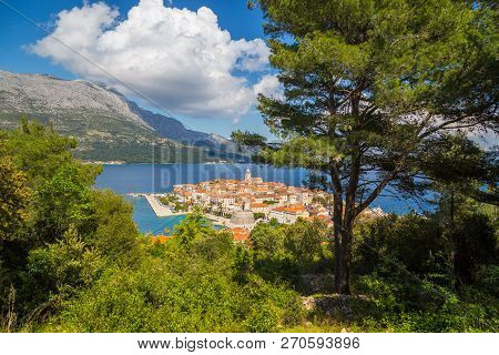Beautiful View Of The Historic Town Of Korcula On A Beautiful Sunny Day With Blue Sky And Clouds In