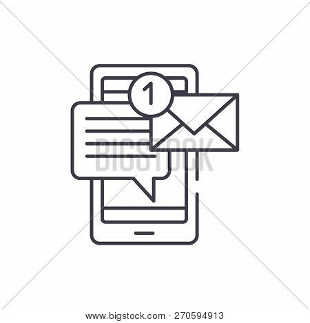 Mobile Chat Bot Line Icon Concept. Mobile Chat Bot Vector Linear Illustration, Symbol, Sign