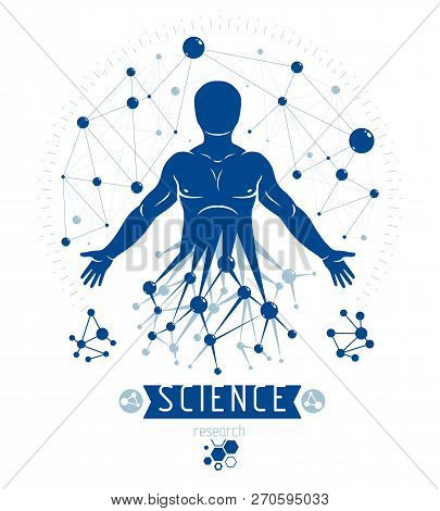 Athletic Man Vector Illustration Made Using Futuristic Molecular Connections. Human As The Object Of