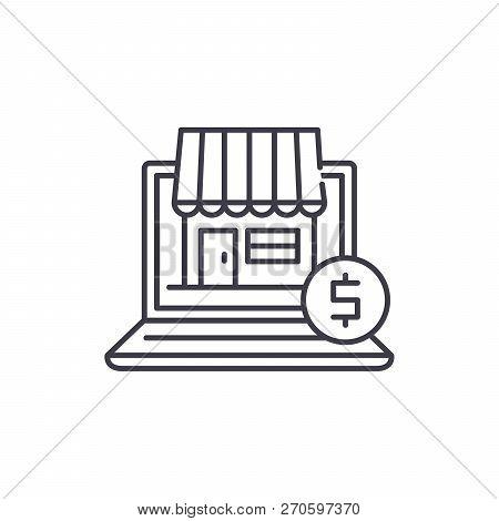 Online Commerce Line Icon Concept. Online Commerce Vector Linear Illustration, Symbol, Sign