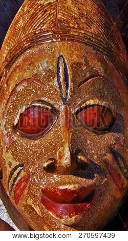 Colse Up Of Carved Wooden African Mask