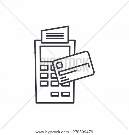 Payment By Non Cash Money Line Icon Concept. Payment By Non Cash Money Vector Linear Illustration, S