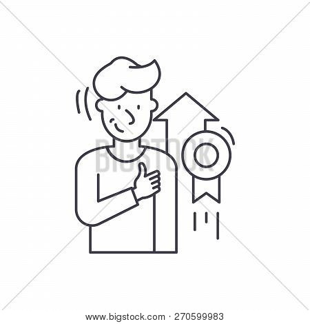 Personal Achievement Line Icon Concept. Personal Achievement Vector Linear Illustration, Symbol, Sig