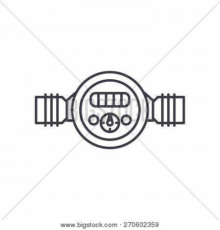 Pressure Meter Line Icon Concept. Pressure Meter Vector Linear Illustration, Symbol, Sign