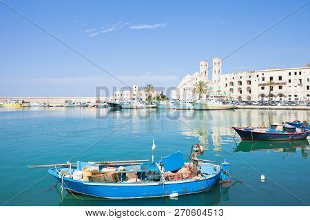 Molfetta, Apulia, Italy - A Traditional Fishing Boat At The Harbor Of Molfetta