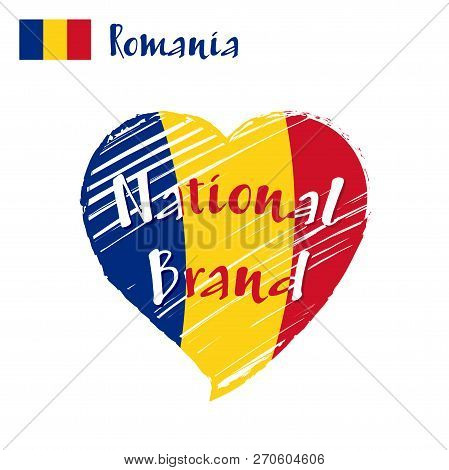 Vector Flag Heart Of Romania, National Brand. Romania Flag In Shape Of Heart, Pencil Strokes Drawing