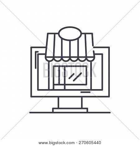 Remote Trading Line Icon Concept. Remote Trading Vector Linear Illustration, Symbol, Sign