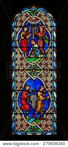 Monaco - November 13, 2018: Stained Glass In The Cathedral Of Monaco, Depicting Holy Communion With