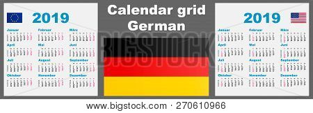 Calendar deutsche, german 2019 Set grid wall ISO 8601 Illustration template with week numbering. Vector poster