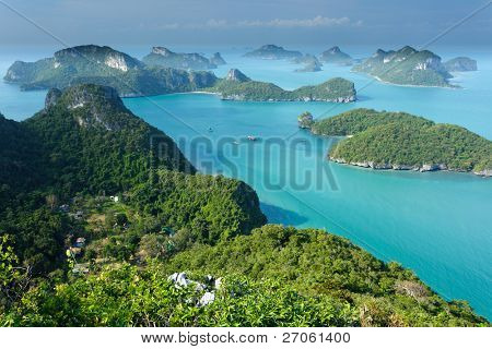 panoramic view of ko angthong tropical marine park in Thailand poster