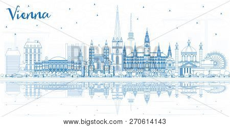 Outline Vienna Austria City Skyline with Blue Buildings and Reflections. Business Travel and Tourism Concept with Historic Architecture. Vienna Cityscape with Landmarks.