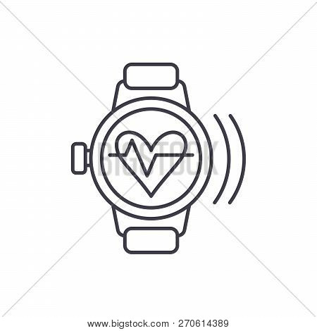 Smart Watch With Pulse Line Icon Concept. Smart Watch With Pulse Vector Linear Illustration, Symbol,