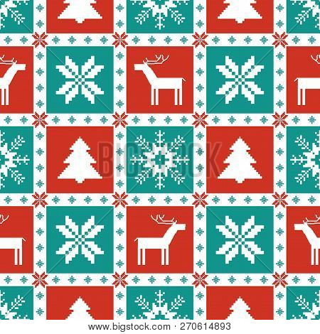 Christmas Knitted Elements Seamless Pattern